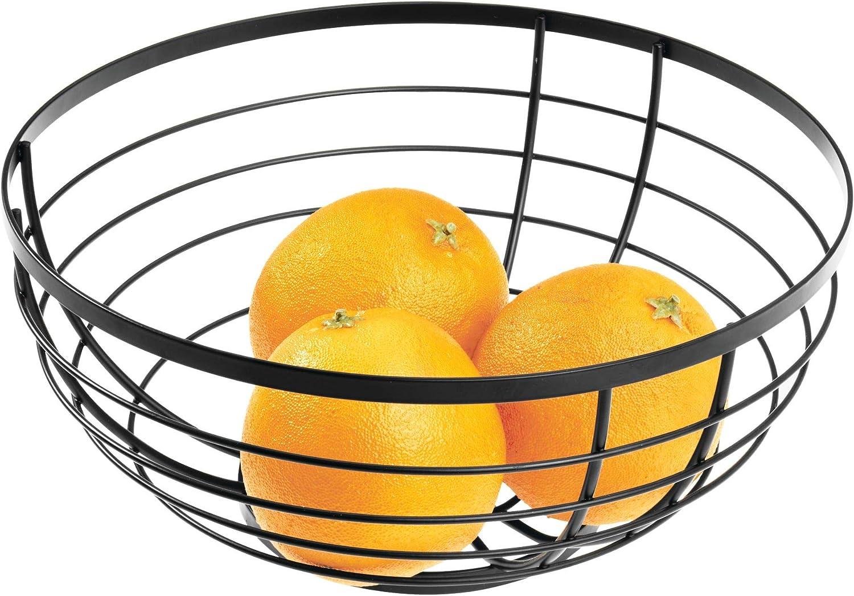 Panier de Fruits Rond en M/étal iDesign AUSTIN Corbeille de Fruits au Design Ouvert Noir Mat