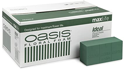9 Green Square Base Bowls with Matching Oasis MaxLife Floral Foam