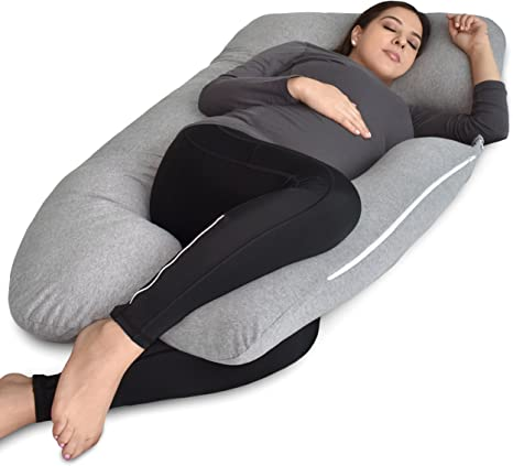 pharmedoc pregnancy pillow u shape full body pillow and maternity support with detachable extension support for back hips legs belly for