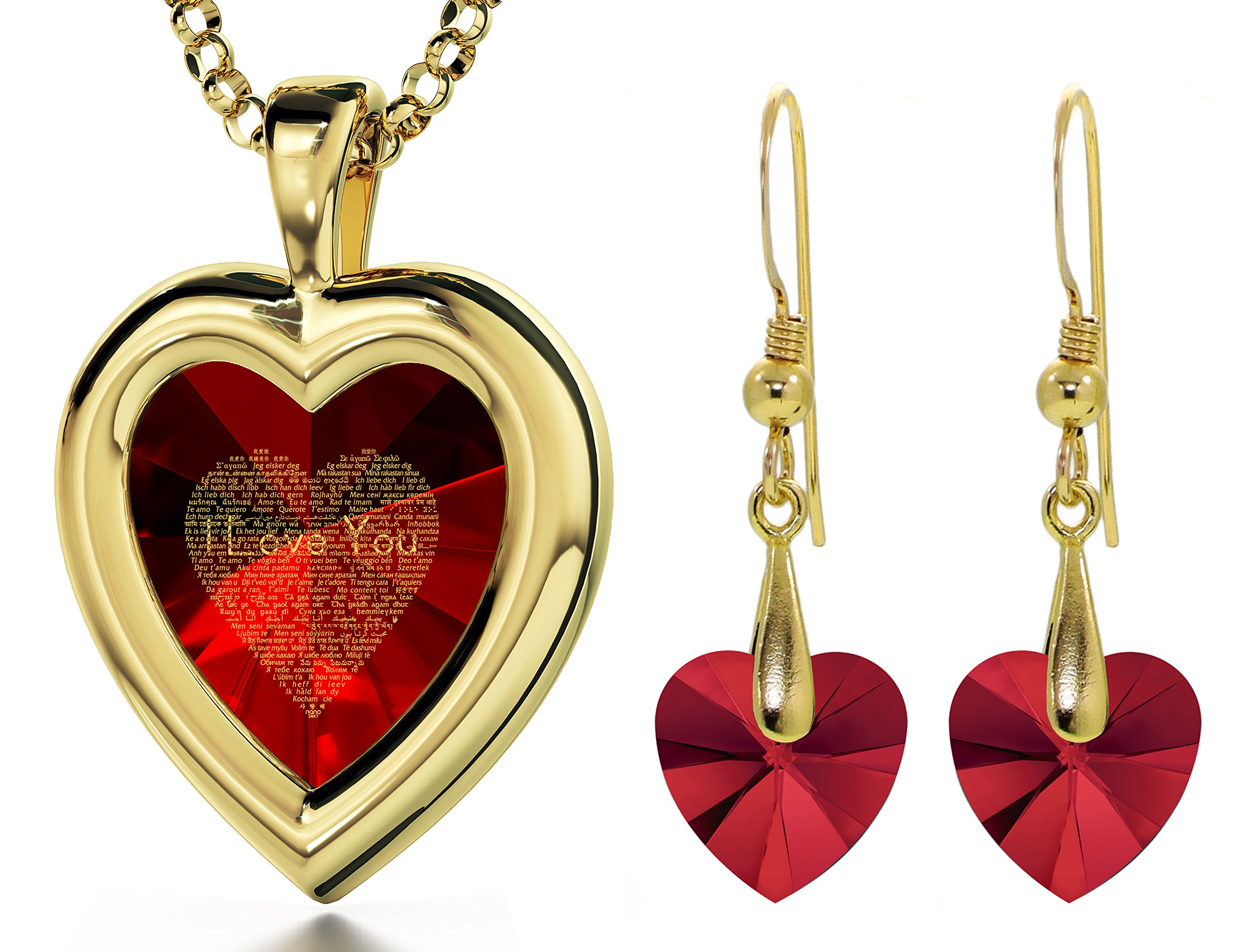 Gold Plated Red Heart Jewelry Set I Love You Necklace 120 Languages CZ Inscribed and Crystal Earrings by Nano Jewelry