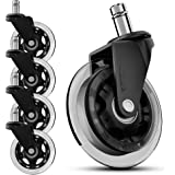 SunnieDog Office Chair Caster Wheels Replacement Rollerblade Wheels for Office Chairs - Heavy Duty, Long Lasting Rubber Prote