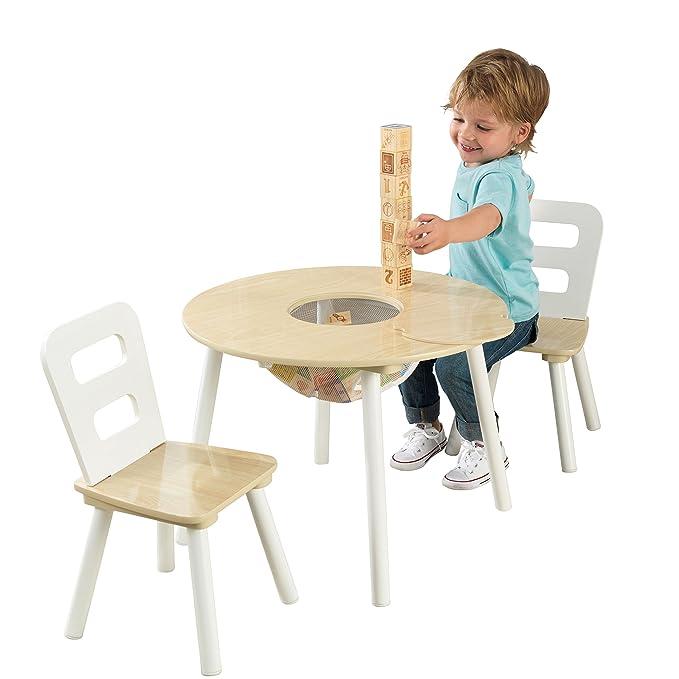 Bois ChaisesChambre Coloris Incluant 2 Ensemble Naturel Table Ronde Avec EnfantMeuble 27027 Kidkraft En Blanc Et Rangement yv8NnOm0w