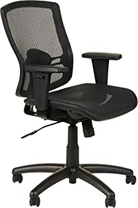 Alera ET4218 Etros Series Mesh Mid-Back Synchro Tilt Chair, Mesh Back/Seat, Black