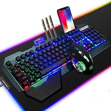 LexonElec Wireless 2.4G Teclado recargable Mouse Set 3800mAh Gran capacidad Rainbow Backlit Gamer Keyboard 2400DPI 7 colores Mouse de respiración 6 ...