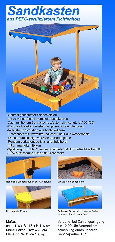 Sandkasten mit verstellbarem Dach inkl. Bodenplane, Sitzecken ...