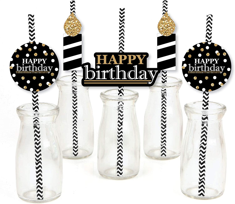 Adult Happy Birthday - Gold - Paper Straw Decor - Birthday Party Striped Decorative Straws - Set of 24