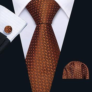 HYCZJH Corbata de Boda para Hombre Corbata de Seda marrón Pañuelo ...