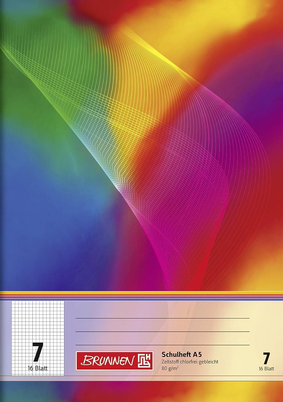 Brunnen 104590702 Schulheft A5 (16 Blatt, 7 mm kariert, Lineatur 7)