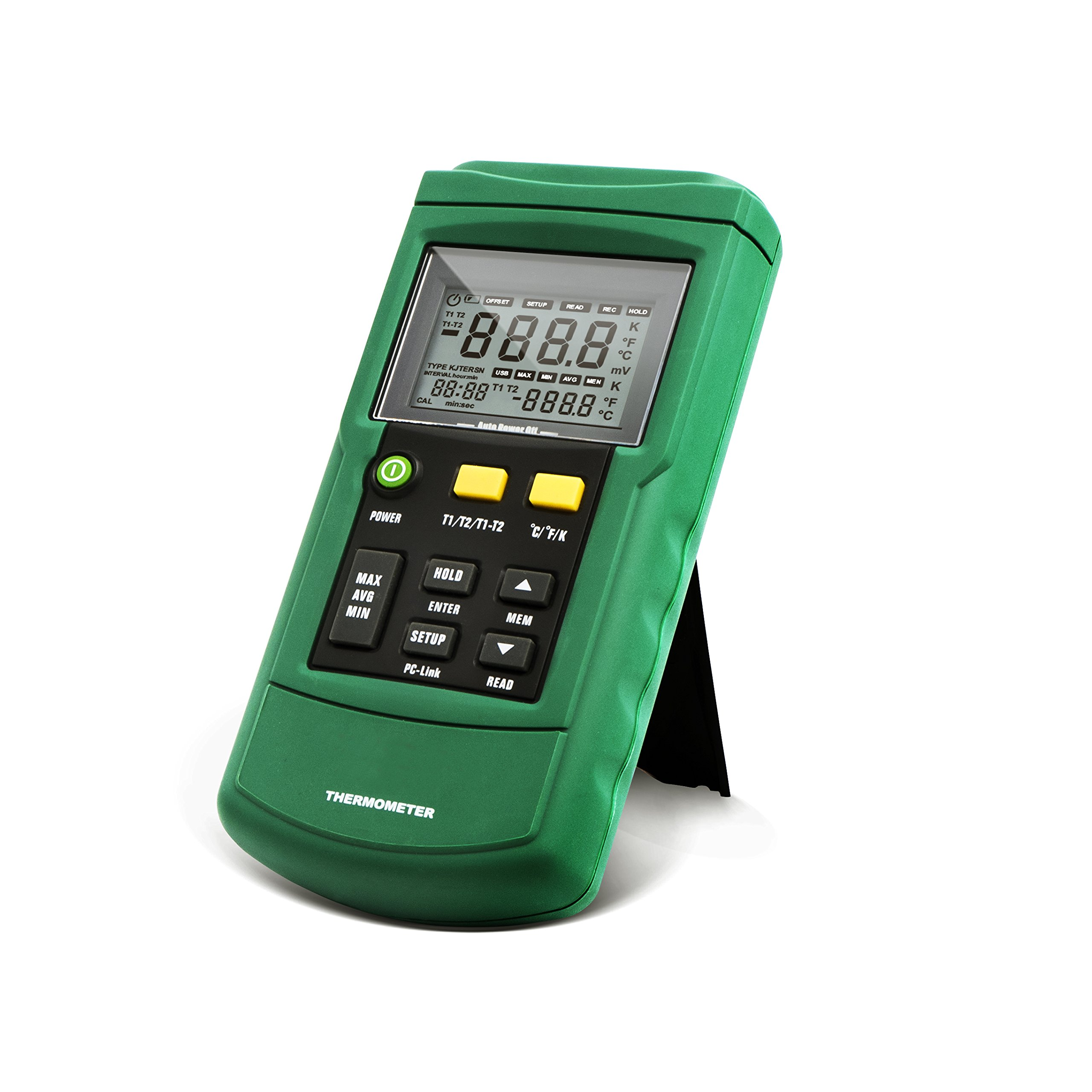 Perfect-Prime TC2100, 2-Channel Digital Thermocouple Thermometer/Sensor USB Datalog J/K/T/E/R/S/N Type,PC Software for up to MS-Windows Win10, Temperature Range -418.0°F to +3212°F