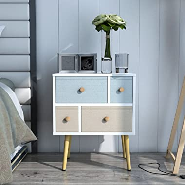 Lifewit Modern Nightstand Side End Table Bedroom Living Room Sitting Room 4 Drawers, White (White)
