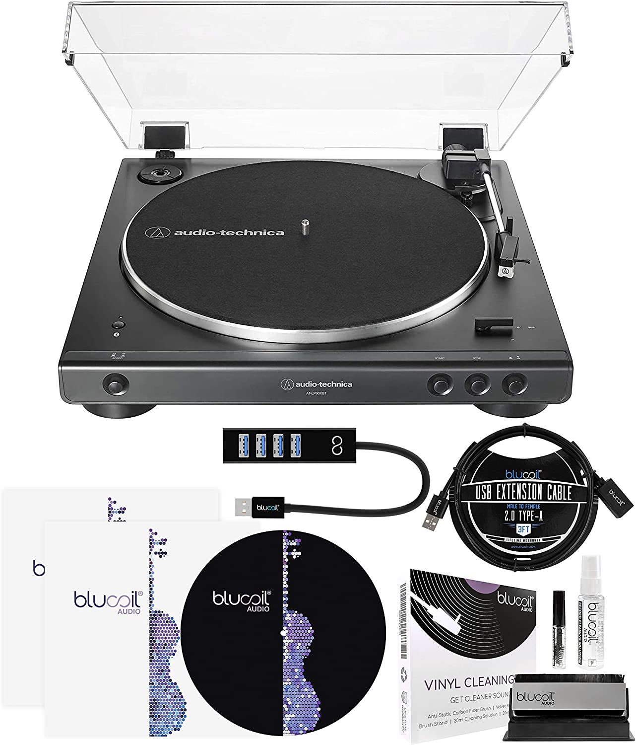 Audio-Technica AT-LP60XUSB USB Belt-Drive Turntable (Black) Bundle with Blucoil Type-A Hub, 3-FT USB 2.0 Type-A Extension Cable, 2-in-1 Vinyl Cleaning Kit, Turntable Slipmat, and 2X LP Inner Sleeves