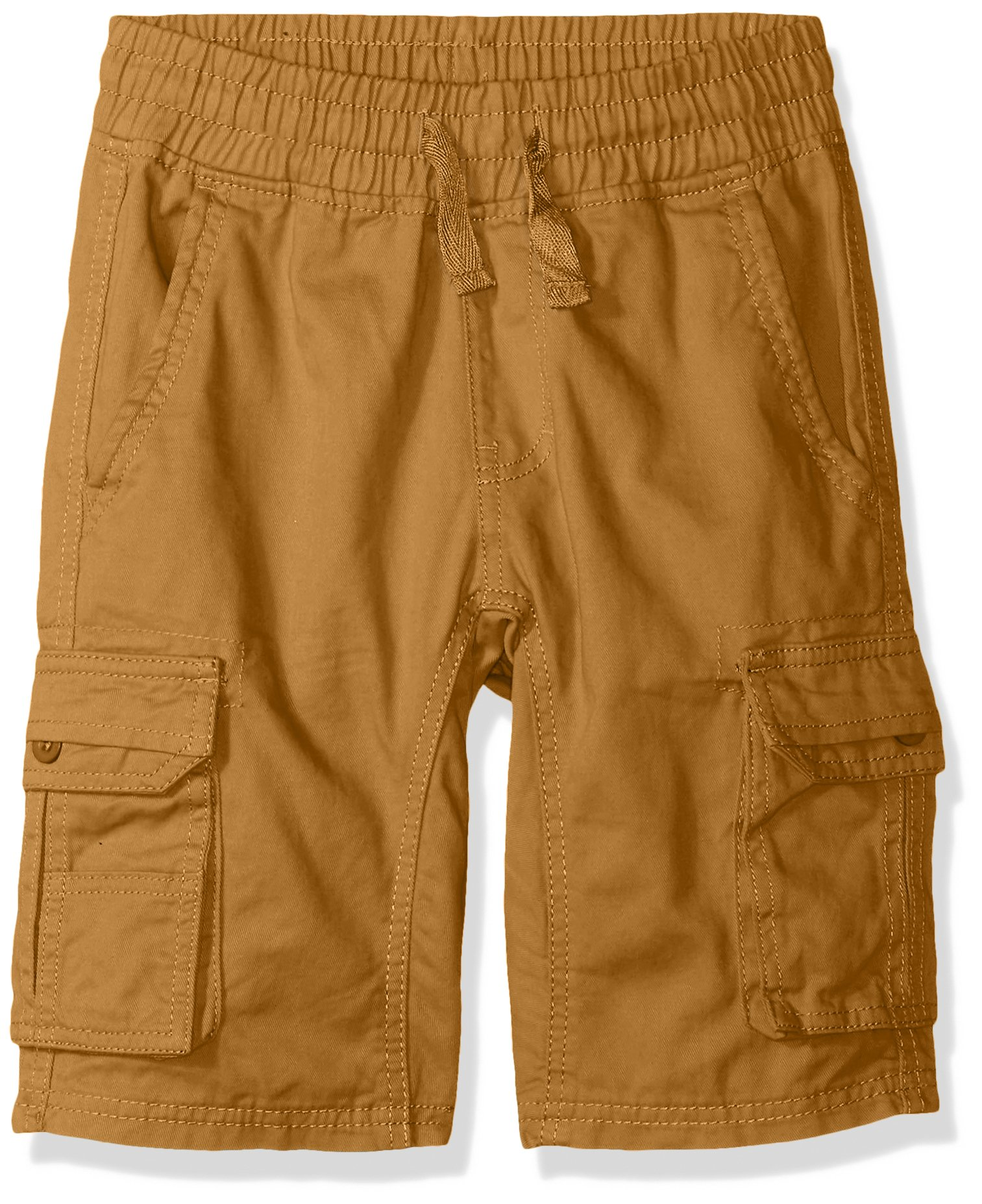Southpole Boys' Big Twill Cargo Jogger Shorts in Basic Solid Colors, Wheat, Medium