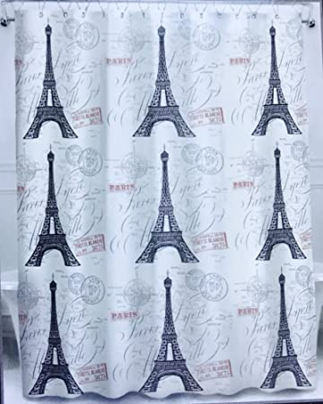 Eiffel Tower Shower Curtain Hooks And Clear Liner Bundle