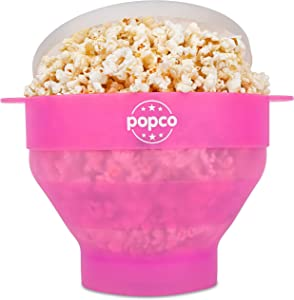 The Original Popco Silicone Microwave Popcorn Popper with Handles, Silicone Popcorn Maker, Collapsible Bowl Bpa Free and Dishwasher Safe - 15 Colors Available (Transparent Pink)