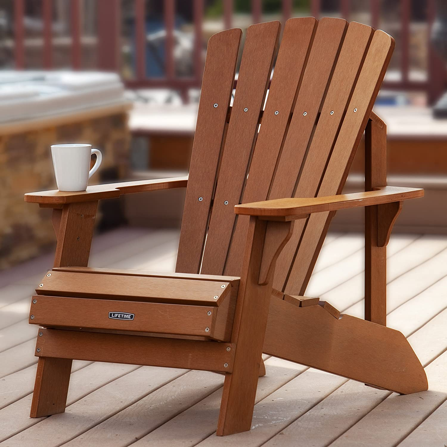 Amazon.com : Lifetime Faux Wood Adirondack Chair, Light Brown - 60064 :  Patio, Lawn & Garden - Amazon.com : Lifetime Faux Wood Adirondack Chair, Light Brown
