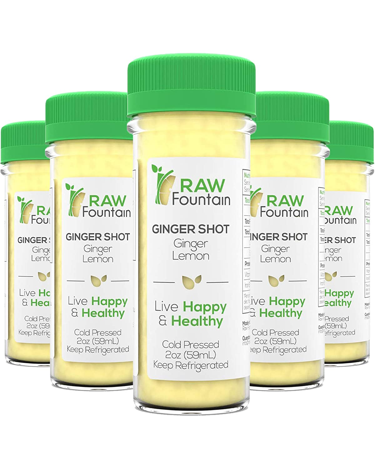 20 Ginger Shots with Lemon 2fl Oz, Vitamin C, Raw and Cold Pressed, Boosts Immunity, Non GMO, All Natural, No Artificial Flavors or Preservatives
