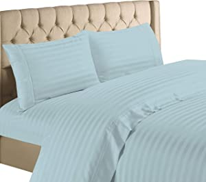 Hampton Home Collection 1200 Thread Count Luxurious Egyptian Cotton Stripe 4 Piece Sheet Set (Full, Blue)