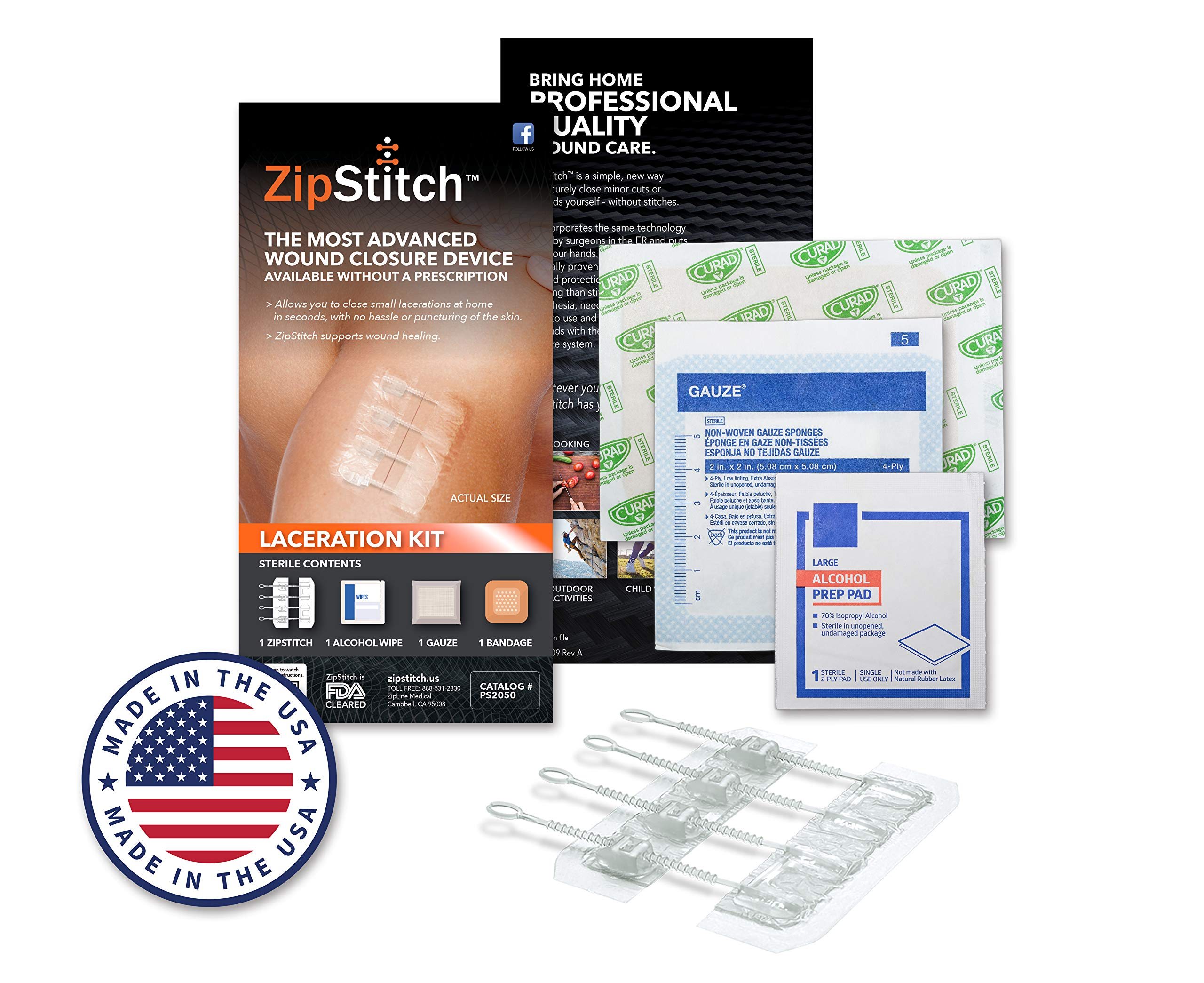 ZipStitch Laceration Kit - Surgical Quality Wound Closure (Includes one Device for Wounds up to 1.5'') for First Aid Kit, Car Kit, Outdoor/Survival Kit, Travel, Camping, Hunting, Hiking by ZipLine