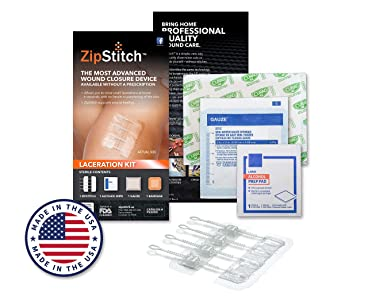 "ZipStitch Laceration Kit - Surgical Quality Wound Closure (up to 1.5"") for in-Home Use (No Stitches) - for First Aid Kit, Car Kit, Outdoor/Survival Kit, Travel, Camping, Hunting, Hiking"
