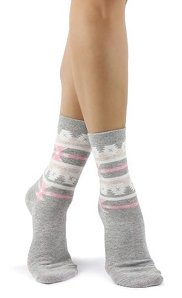 Mixmi Boutique Calcetines tobilleros grises con estampado azteca/calcetines aztecas en gris