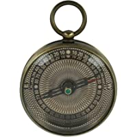 Shalinindia Pocket Brass Compass With Ornamental Face -Antique Inspired Design- 2.2 Inch - Working Mechanism