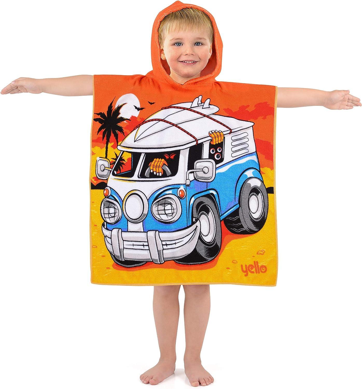 Yello Kids Hooded Beach Changing Poncho Microfibre Towel Shark Robot Campervan