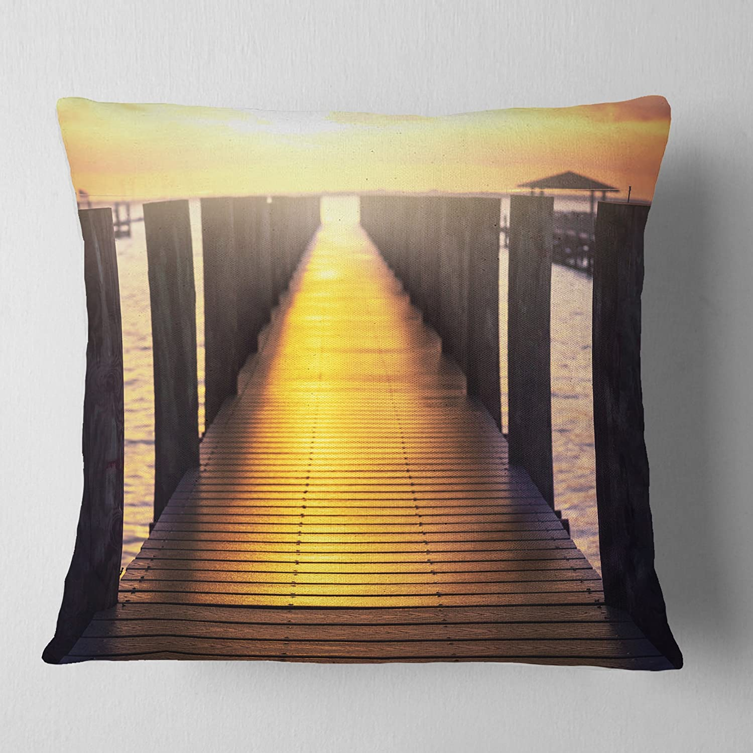 Designart CU12788-18-18 Sea Bridge with Sunset Reflection Seashore Cushion Cover for Living Room Insert Printed On Both Side x 18 in in Sofa Throw Pillow 18 in