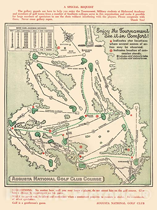 Amazon Com Historic Map Augusta National Golf Club Course 1954 Augusta National Golf Club Vintage Wall Art 18in X 24in Posters Prints