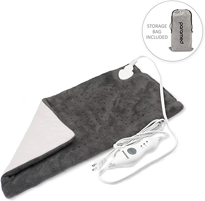 "Heating Pad XL King Size by Paramed - Extra Large 12"" x 24"" - Dry Heat Therapy Functions & Auto Shut-Off - for Neck, Back, Shoulder, Menstrual Pain & Sore Muscle Relief - Washable"