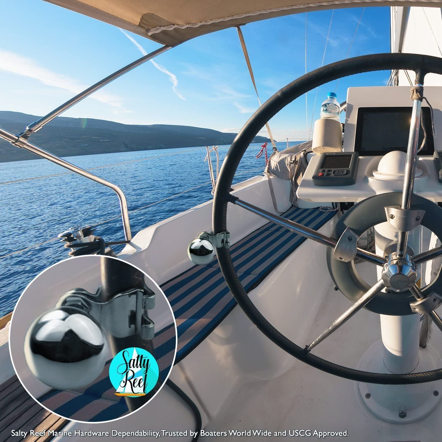 Steering Wheel Suicide Knob Fits Steering wheels from 5//8 to 1 ... Universal AISI 316 Marine Grade Stainless Steel