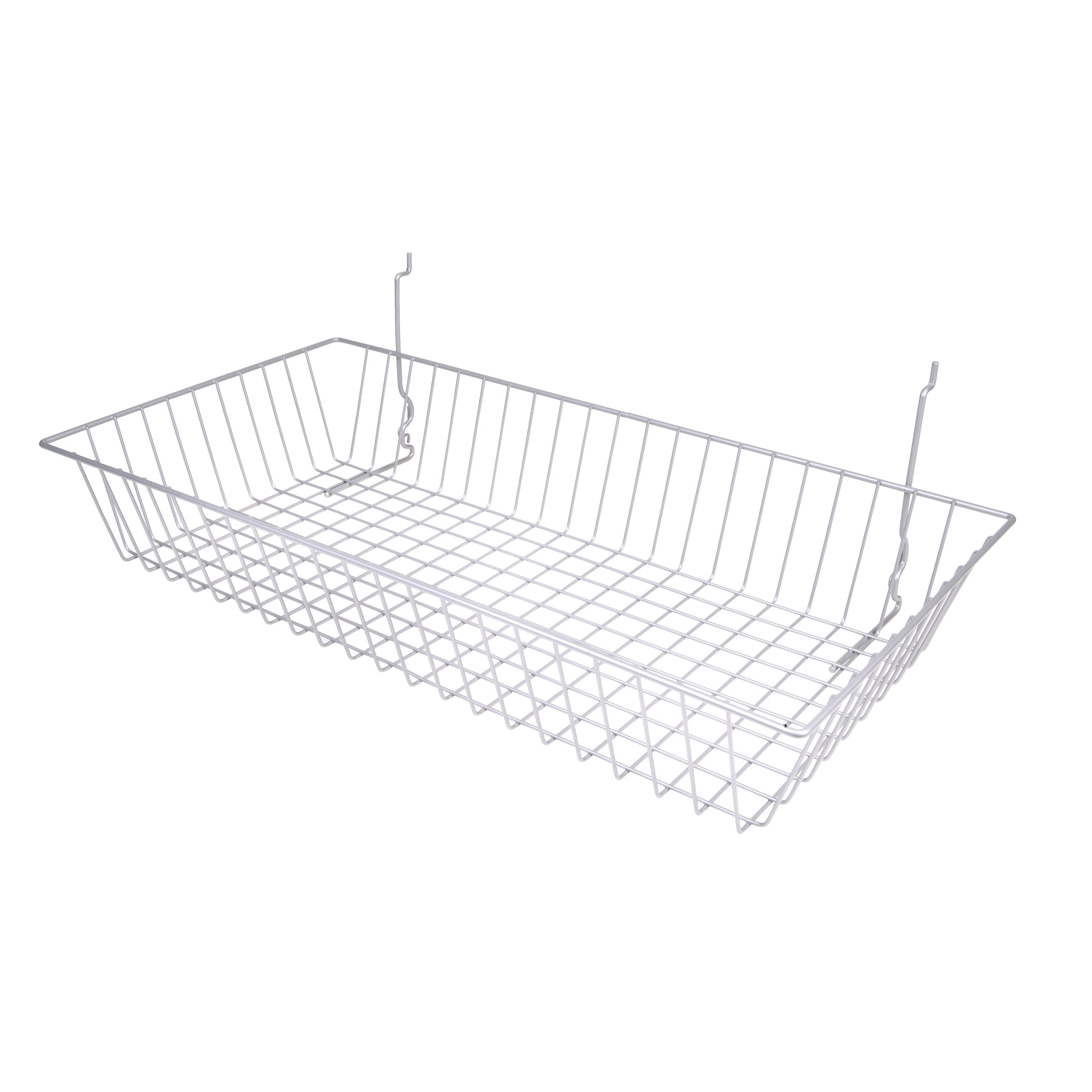 Chrome Multi Use Wire Basket Slatwall Gridwall Pegboard Slatgrid 24''W x 12''D x 4''H Lot of 6 - New