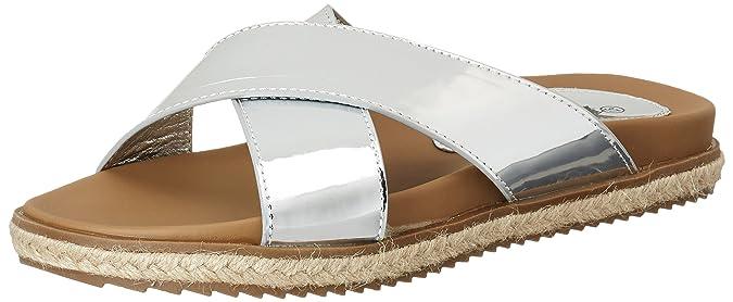 XTI Damen Silver Mirror PU Ladies Sandals Offene