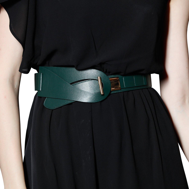 Wide Green Genuine Cowhide Ladies Leather Belt