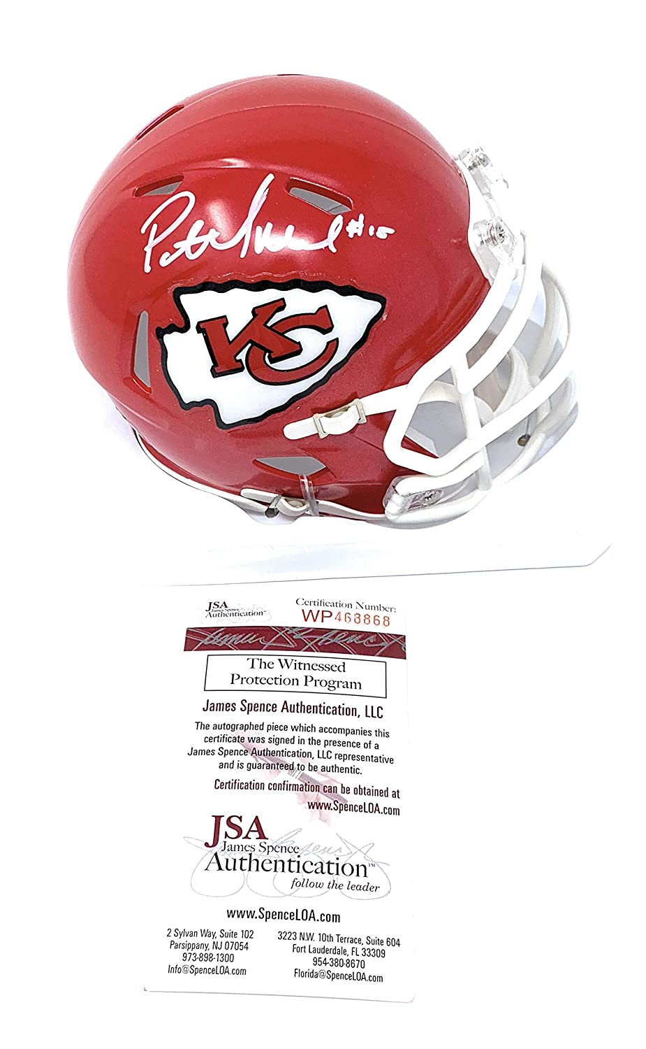 Patrick Mahomes Kansas City Chiefs Signed Autograph Speed Mini Helmet #15 JSA Witnessed Certified