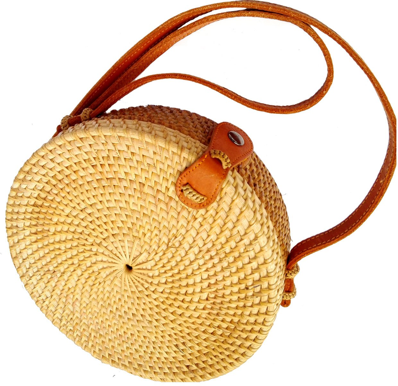 Bali Rattan - Handwoven Round Rattan Bag (Plain Weave Leather Closure) by Bali Rattan (Image #10)