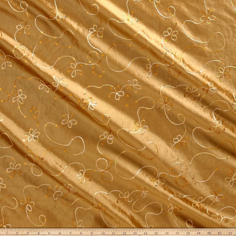 100/% Silk Fabric Embroidered Taffeta Yellow Peach on Bronze Per Yard
