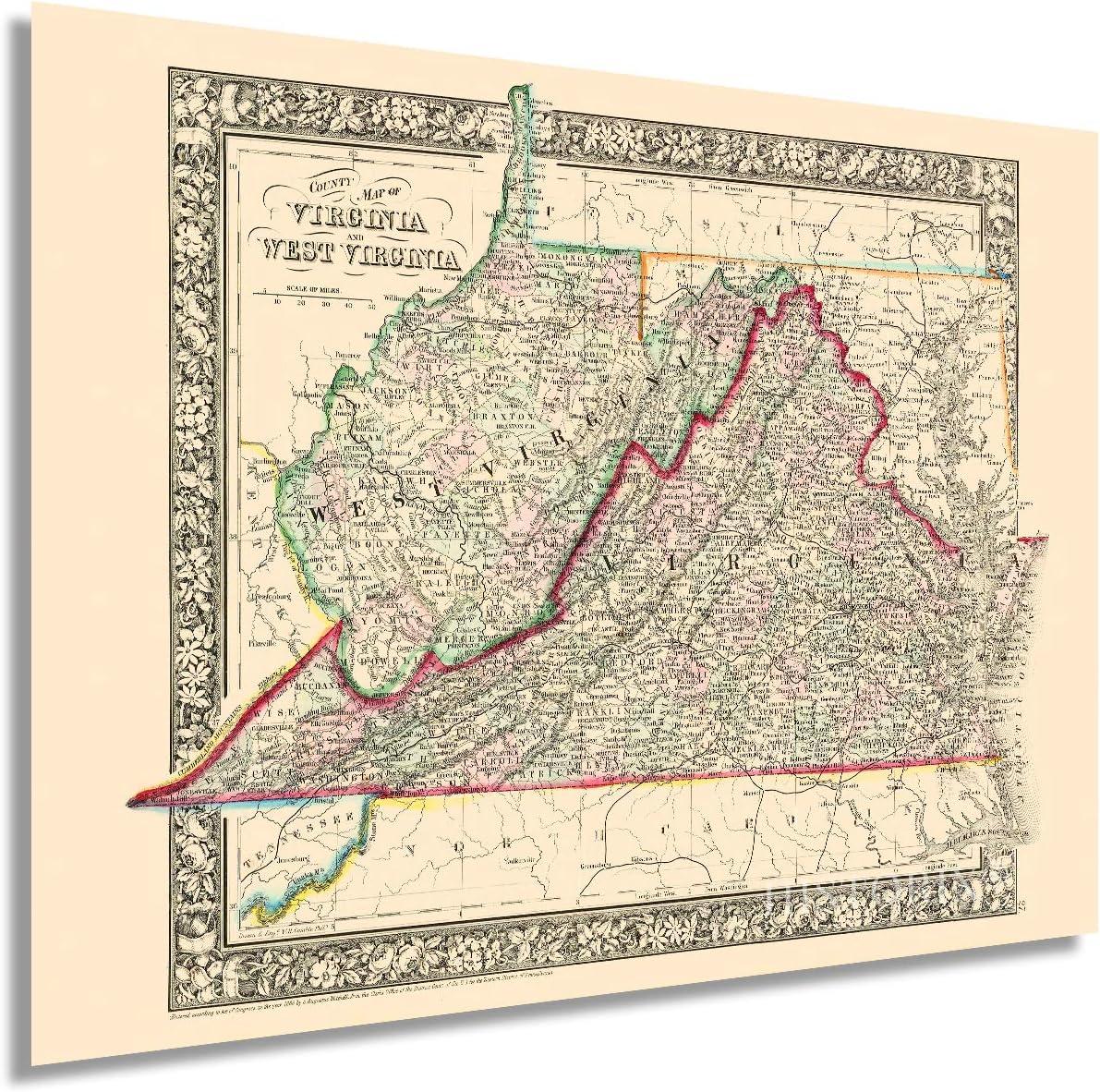 HISTORIX Vintage 1863 Virginia and West Virginia Map - 18x24 Inch Vintage Map of Virginia Poster and West Virginia Wall Map - Old County Map of Virginia and West Virginia (2 Sizes)