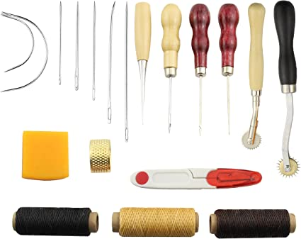 Canvas,Basic Tools for Beginner Leather Sewing Tools SIMPZIA 24 Pieces Leather Tools Craft DIY Hand Stitching Kit with Groover Awl Waxed Thimble Thread for Sewing Leather