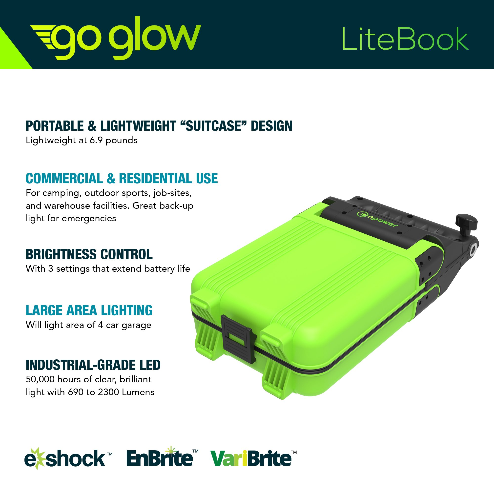 GoGlow LiteBook Bundle - Upgraded 2.0 TRIPOD INCLUDED - 30W Portable Rechargeable Day Light White Light (5000-5500k) Work Light, Camping, Garage or Auto Repair, Emergency (Green) by Enpower (Image #3)