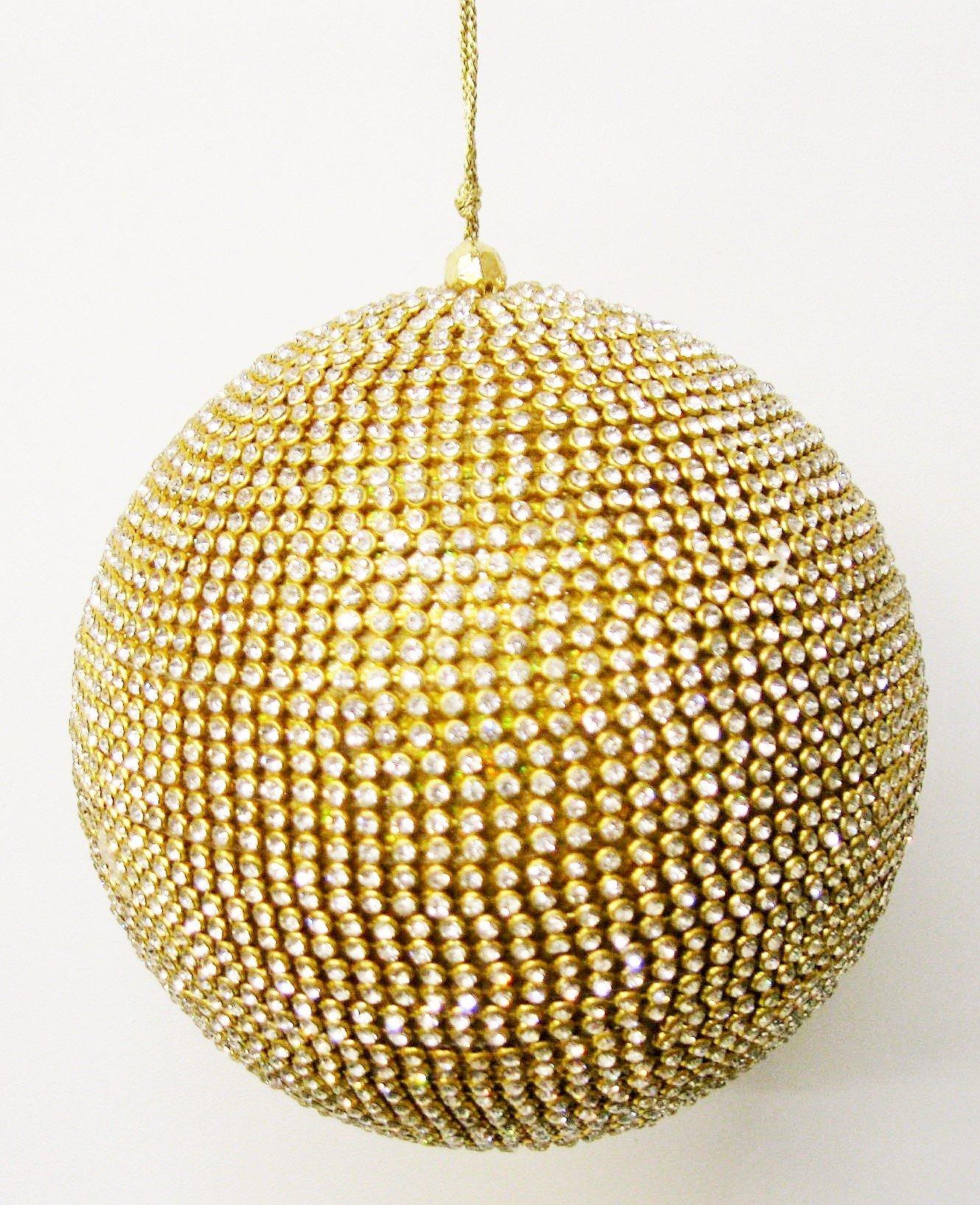 Gilded Rhinestone Christmas Ornament 5'' diameter CHOICE OF WHITE OR RED RHINESTONES (white)