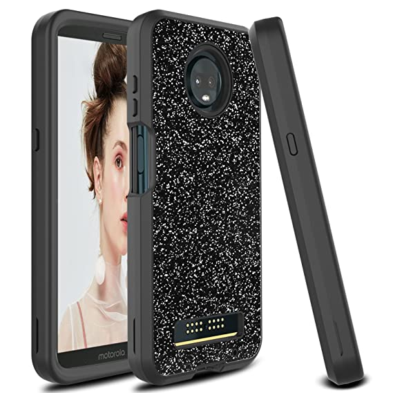 reputable site 2f251 915b2 Moto Z3 Play Case, Moto Z3 Case, Zenic 3 in 1 Glitter Bling Shockproof  Hybrid Hard Protective Case for Motorola Moto Z3 Play (Black)