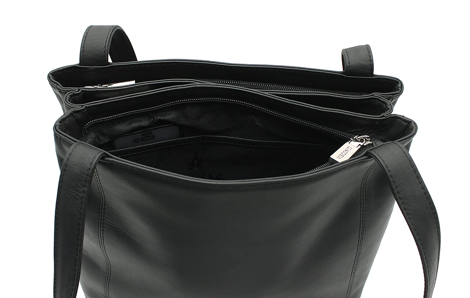 703f4a3ad0 Visconti Leather Two Strap Shoulder Bag 18181 Black  Amazon.co.uk  Luggage