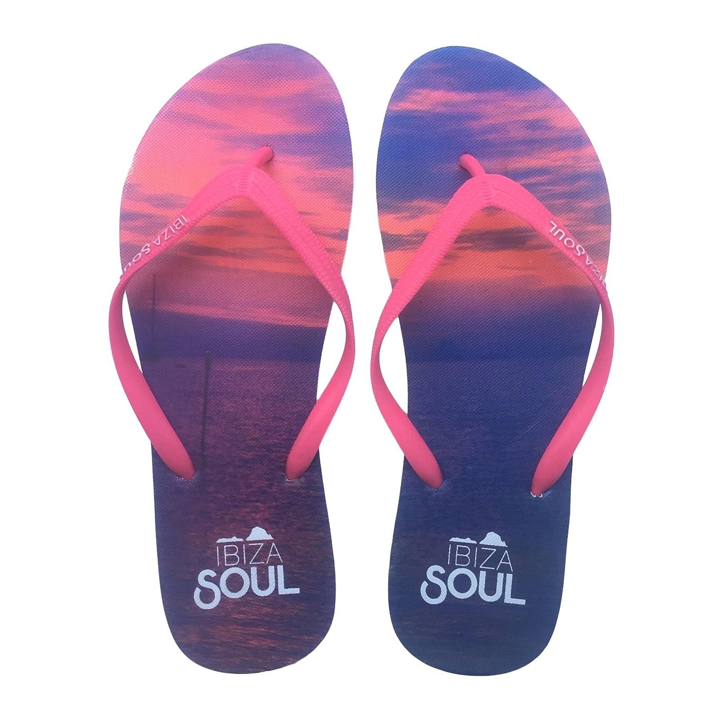 Ibiza Soul ,  Damen Durchgauml;ngies Plateau Sandalen  36.5 EU|Sunset Pink