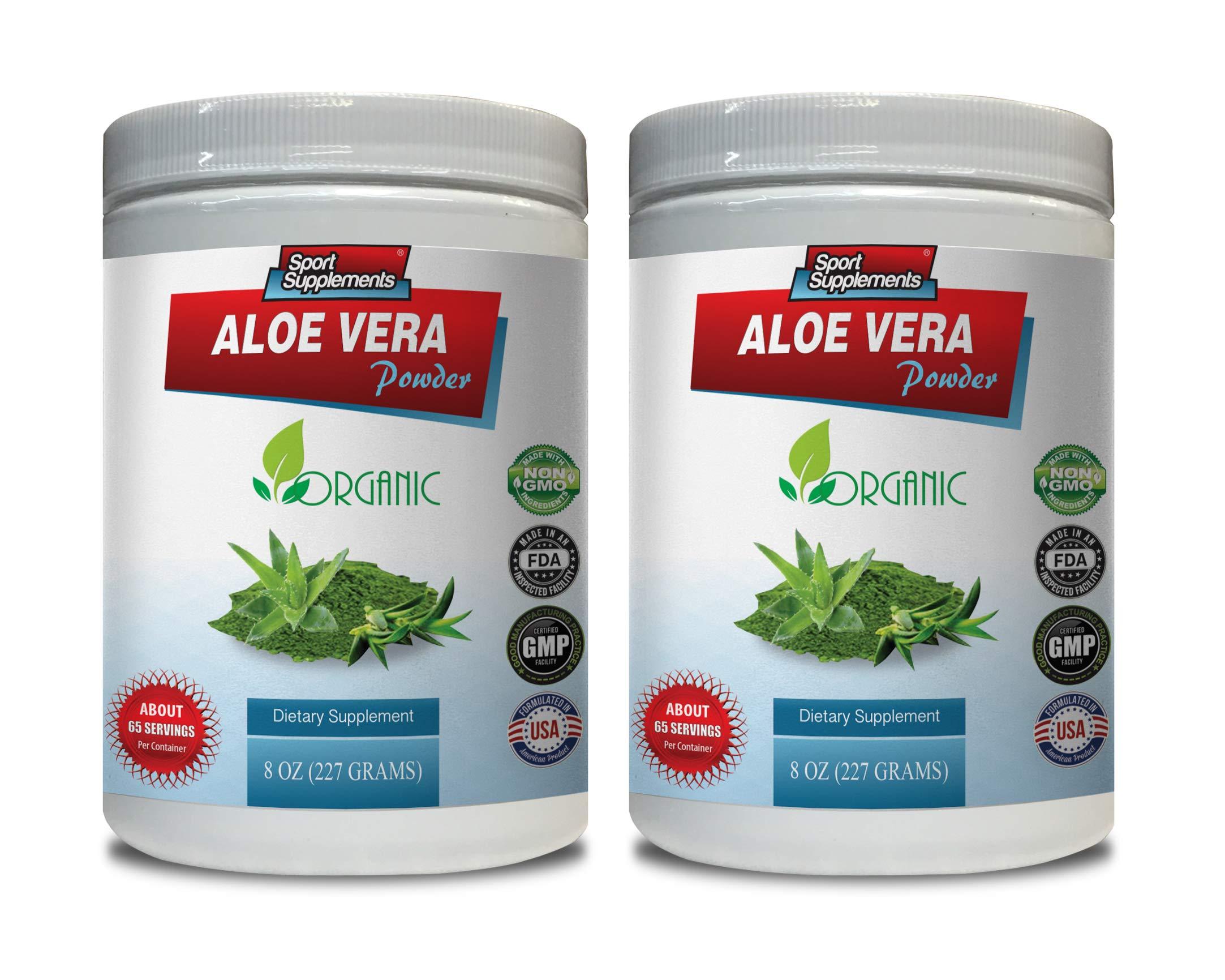 Organic Immune Boosting Supplements - Aloe Vera Powder Organic - Dietary Supplement - Aloe Vera Supplement - 2 Cans 16 OZ (130 Servings)