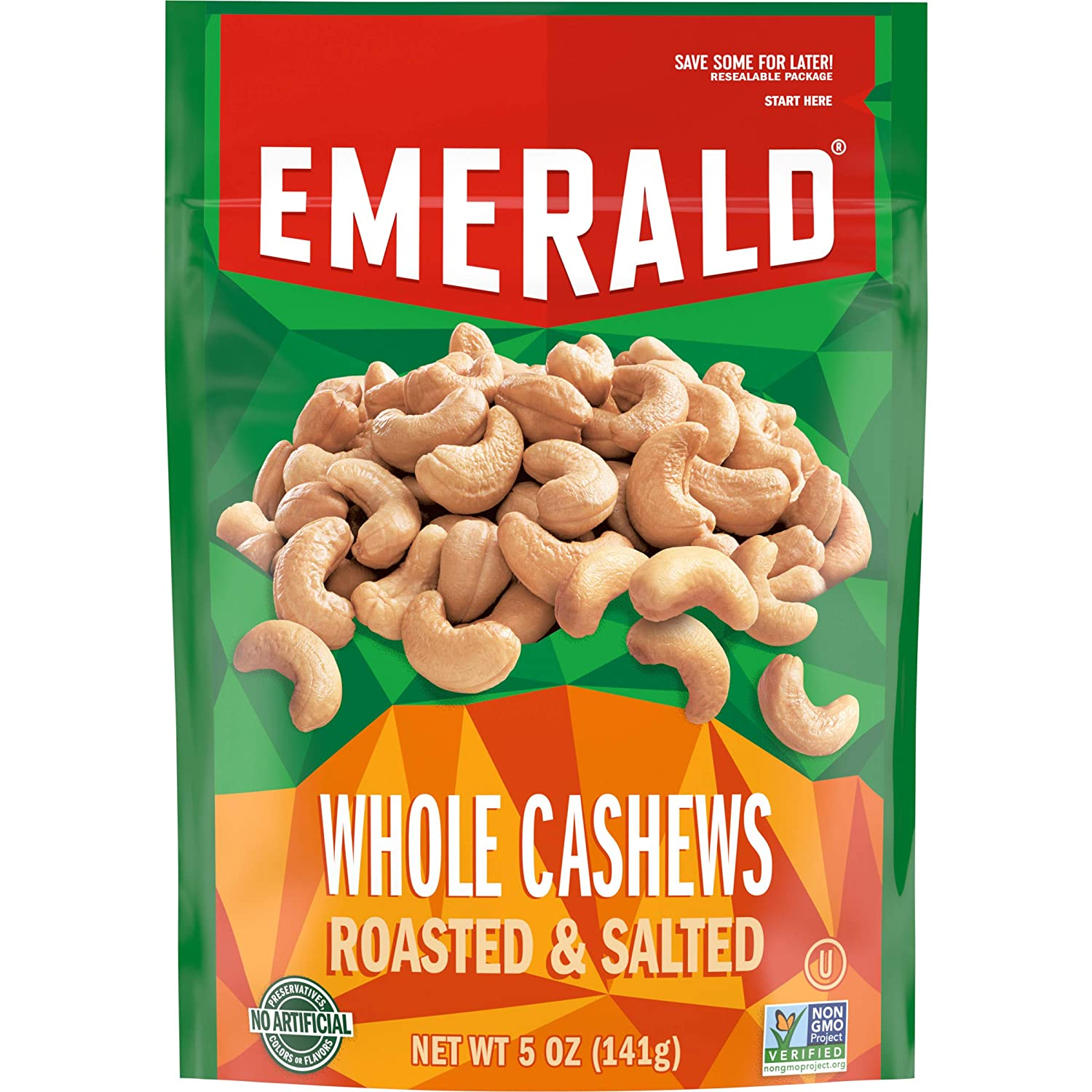 Emerald Nuts, Whole Cashews Roasted & Salted, 5 Ounce Resealable Bag