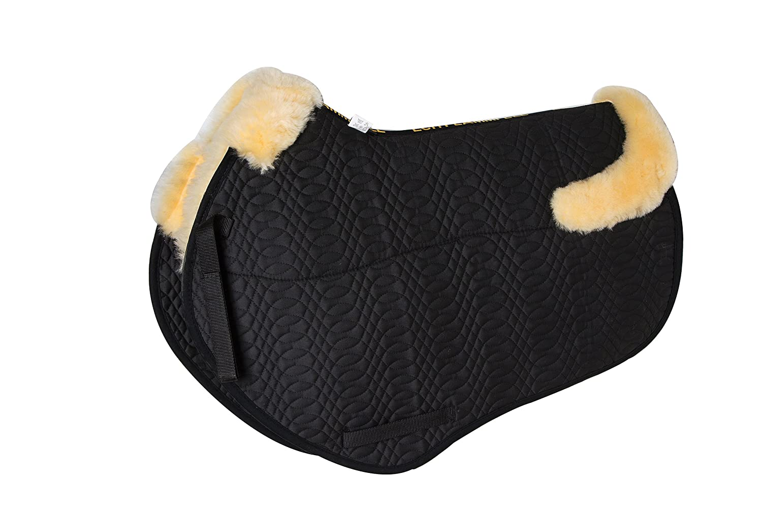 (Dressage, Natural wool Black quilting) Merauno Sheepskin GP Saddle Pad Full Blanket