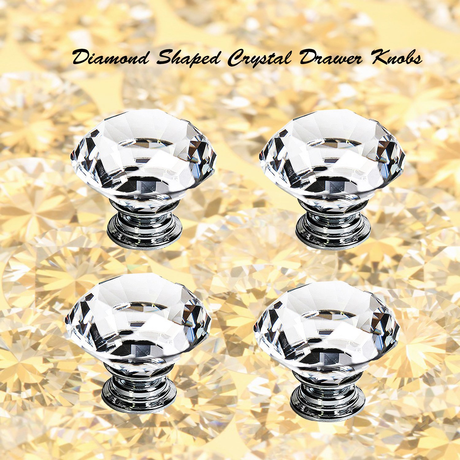 Dresser Crystal Knobs - 30MM 25 PCS Glass Crystal Drawer Knobs Pulls Cabinet Handle for Home Kitchen Wardrobe Cupboard by LanGui (Image #9)