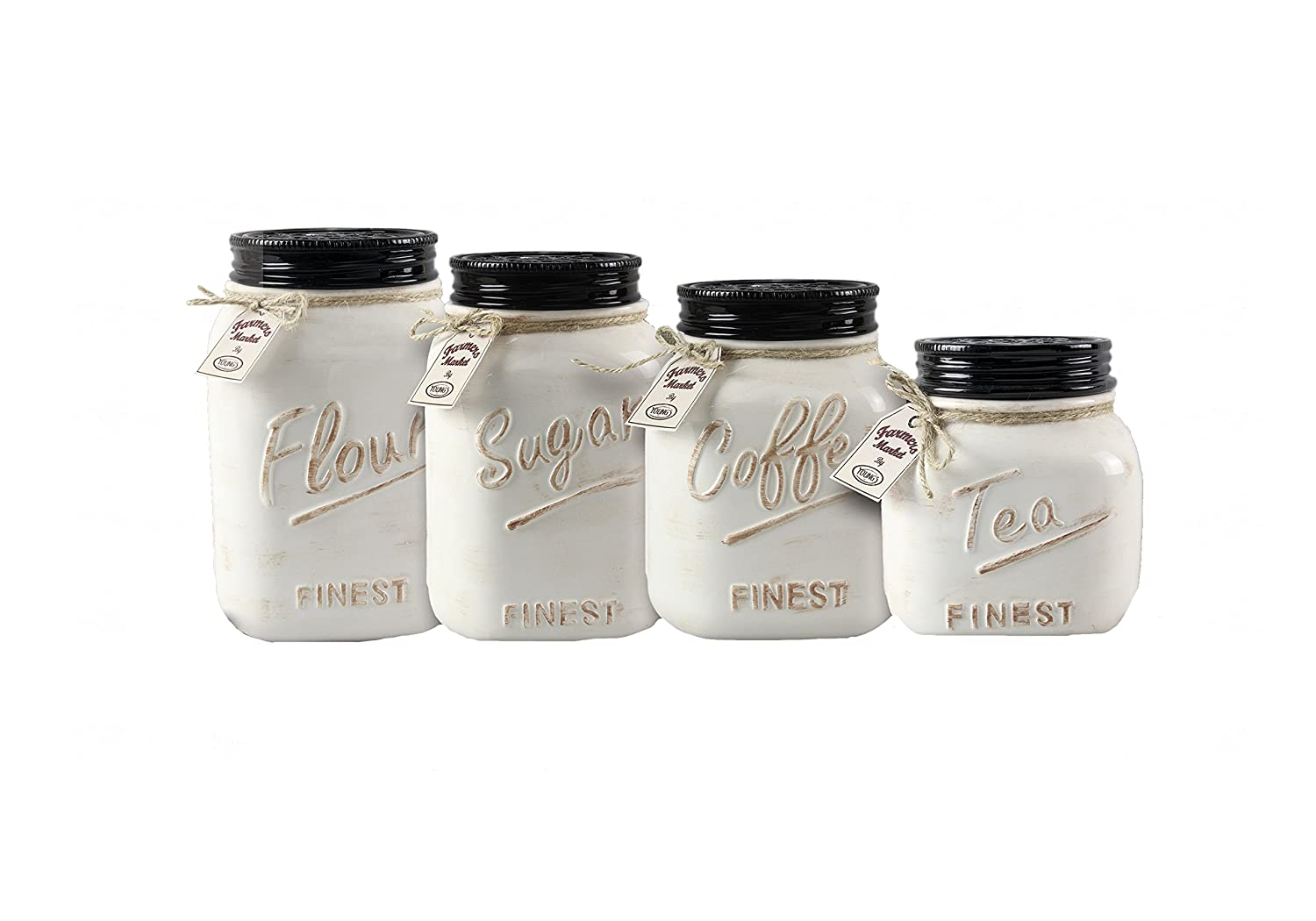 Young's 4 Piece Ceramic Country Canister Set, 10.75""