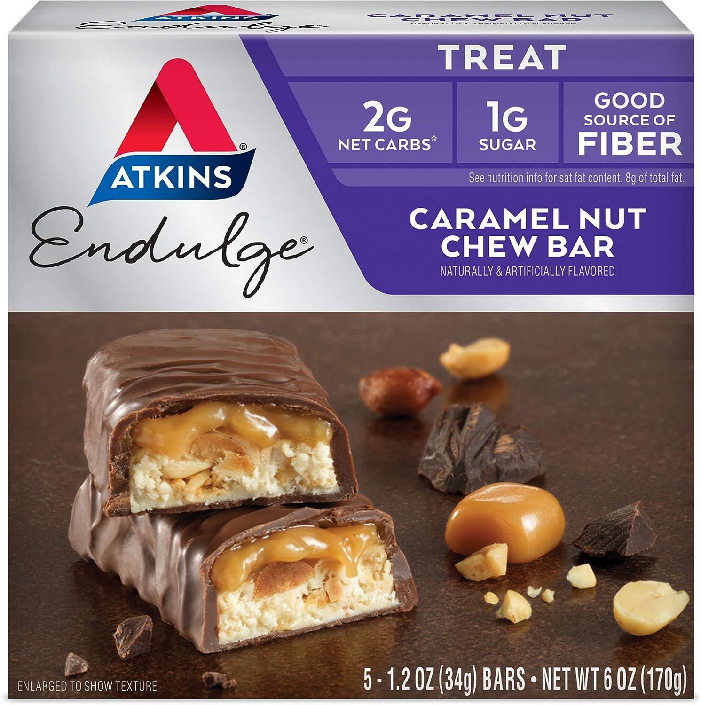 Atkins Endulge Treat, Caramel Nut Chew Bar, Keto Friendly, 5 Count