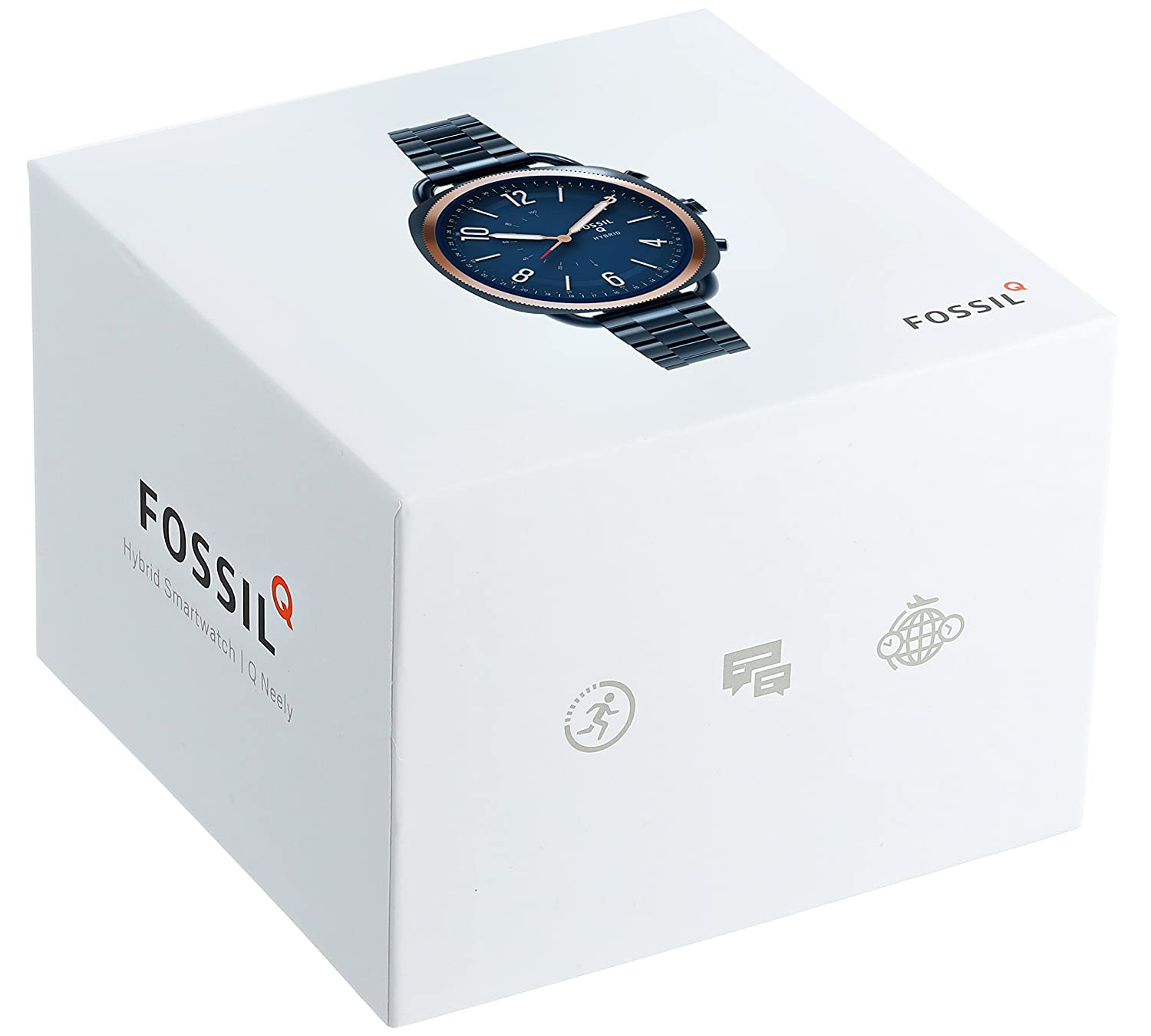 Q Accomplice Navy Blue Stainless Fossil Hybrid Smartwatch